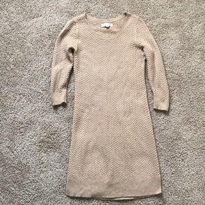 Long sleeve Ann Taylor Loft tan knit sweater dress